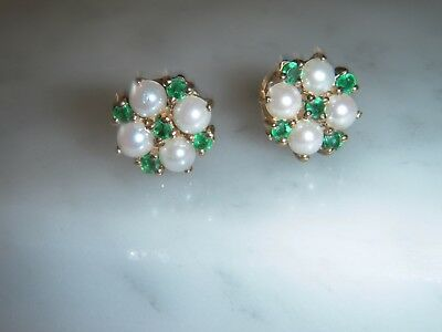 A Stunning Pair Of 9 Ct Gold Emerald And Pearl Cluster Earrings