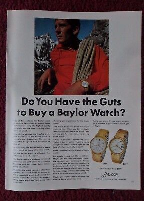 1966 Print Ad Baylor Watch Watches ~ Mountain Climber Do You Have Guts ZALES