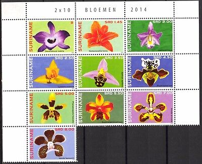 Suriname 2014 Flowers Orchids set of 10 MNH** high value !