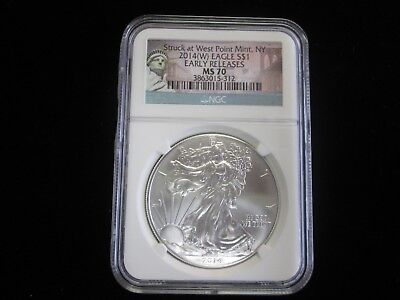 2014-(W) $1 American Silver Eagle NGC MS70 Early Releases Struck at West Point