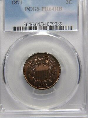 1871 TWO CENT (2c) PIECE***PCGS GRADED TO PR 64 RB***PROOF***EGE