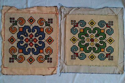 Two completed needlepoint tapestries - geometric pattern - each 41cm x 42.5cm