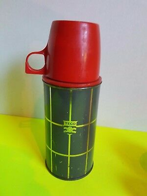 Vtg Teco Canada Metal Thermos Thermal Bottle with Plastic Lid Striped Grey Red