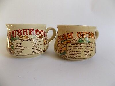 Vintage Lot of Soup Mugs Bowls Mushroom Soup Clam Chowder Recipe Japan