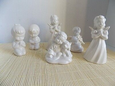 Vintage ERM 1979 Pottery Glazed Cermamic Angels 3.5 to 5 Inches Tall Lot of 6
