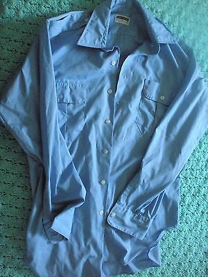 Vtg Mens Clothing Button Work Shirt Greyhound Brand Polyester Cotton Size M-L