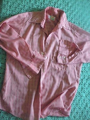 Vintage Mens Clothing Button Up Shirt Forsyth Brand Polyester Cotton Size M-L