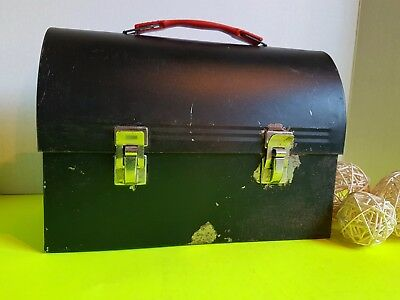 Vintage Thermos Made in Canada Black Metal Lunchbox Lunch Kit