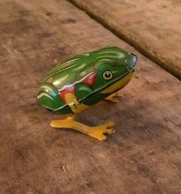 Vintage Tin Litho toy Jumping Frog US Zone Germany