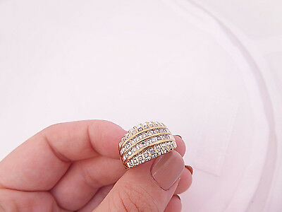 10ct/10k gold 72 point Diamond large & heavy cluster ring,