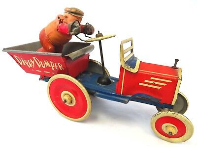 1937 POPEYE DIPPY DUMPER  MARX with BLUTO driver VINTAGE TIN WIND UP TOY-WORKS!!