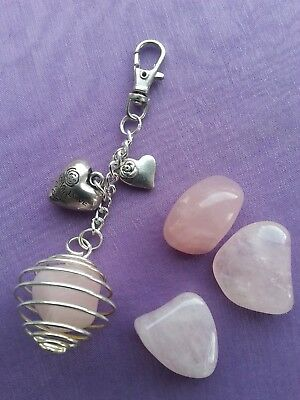 "TUMBLESTONE ROSE QUARTZ for Good Luck in ""LOVE & HAPPINESS"" Bag Charm Keyring"