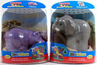 Fisher-Price Little People ZOO TALKERS LOT OF 2! HIPPO & ELEPHANT Lot sounds NEW