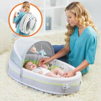 NEW LulyBoo Premium Bassinet To Go Premium w/Canopy- Lamb Theme Gray/White