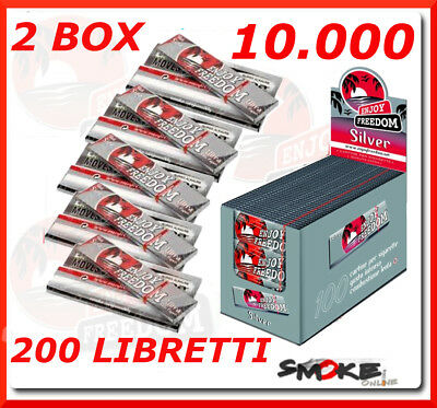 10.000 Cartine Enjoy Freedom Silver Grigie Corte 200 Libretti, 2 Box