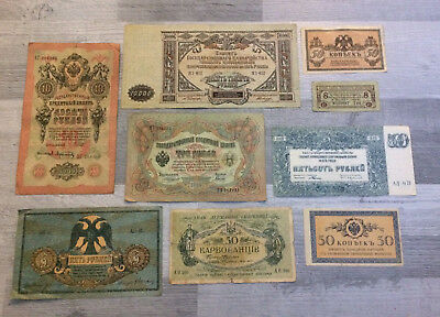 RUSSIE-RUSSIA LOT DE 9 BILLETS DIVERS.ref:17/10/5.