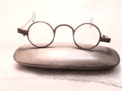 1770's GEORGIAN STEEL ROUND ENGLISH SPECTACLES WITH COMPLETE ROUND LOOPS & CASE!