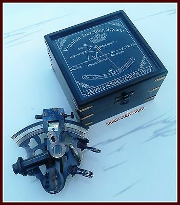 Nautical Maritime Victorian Travelling Brass Sextant with Wooden Box