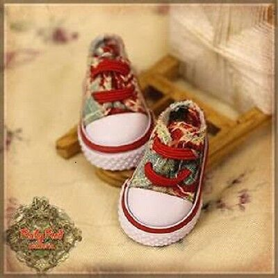 HH0016A Red Print Canvas Shoes Ruby Red Galleria Ten Ping Gigi Doll