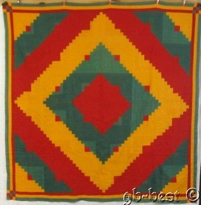 Vibrant c 1890-1900 Log Cabin PA Quilt Top RED Green CHEDDAR