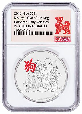 2018 Niue Disney Lunar Year of the Dog 1 oz Silver $2 NGC PF70 UC ER SKU49221