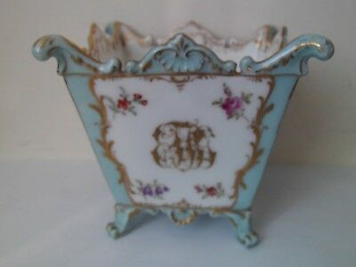 Dresden Square Cache Pot Duck Egg Blue & White Hand Painted Floral, Gilded.
