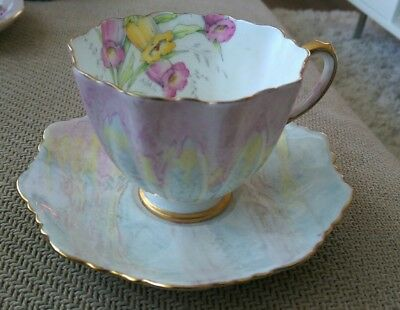 VINTAGE PARAGON by APPOINTMENT ENGLAND CHINA CUP AND SAUCER PASTEL W/FLOWERS