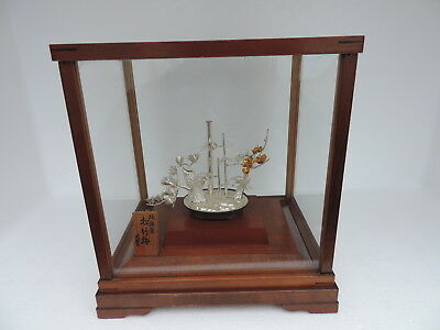 Finest Japanese Sterling Silver Pine Bamboo Plum Bonsai Trees Japan