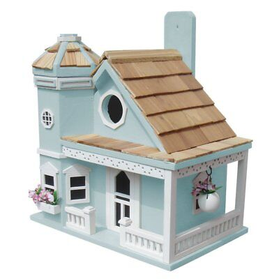 Home Bazaar Flower Pot Cottage Birdhouse-Blue