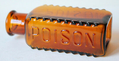 "Vintage Amber 4"" Poison Bottle, Embossed, Hobnailed, Rectangular"