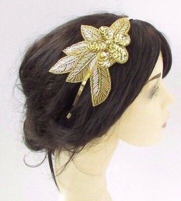 Gold Sequin Rose Headpiece 1920s Headband Fascinator Races Great Gatsby Vtg 4266