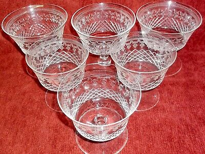Pall Mall Lady Hamilton  Six  Cut & Etched Sundae Dishes Very Good   Ccondition