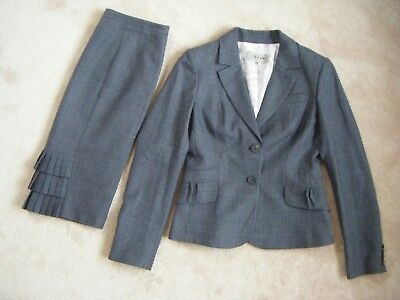 JIGSAW Country Grey Wool Tweed Dogtooth Check Plaid Skirt Suit size UK10 office
