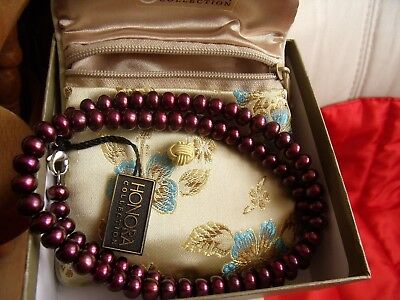 HONORA Pearl Necklace. Cranberry. complete with silk Purse. BNIB.
