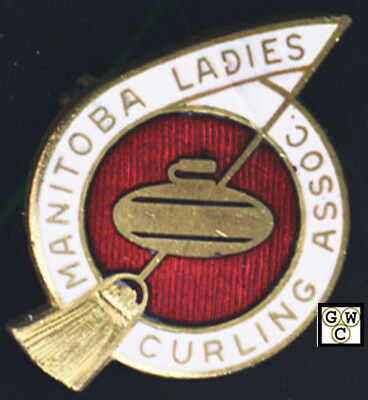Manitoba Ladies Curling Association Curling Pin Previously Owned Lavonne Pitts