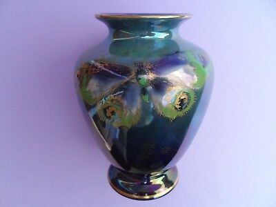 A superb Shelley Walter Slater signed RICH BUTTERFLY lustre vase. C.1920.