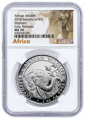2018 Somalia 1 oz Silver Elephant 100S Coin NGC MS70 ER Exclusive Label SKU49901