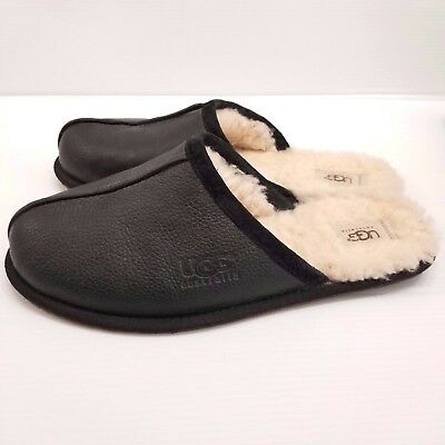 UGG Australia Mens Black Leather Scuff Slippers Sheep Shearling Size 11 US