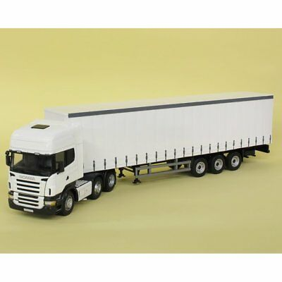 Cararama 1:50 CR2627 Scania R Topline Cab & 3 Axle Curtainside Trailer White