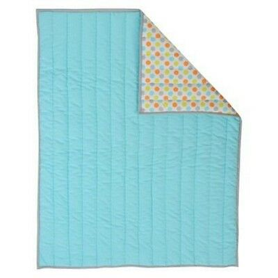 Sumersault Aqua Blue Orange Deco Dot Reversible Crib Quilt Baby Blanket Nursery