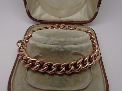 Victorian 9ct rose gold large link bracelet 9 inches 21.4g not scrap