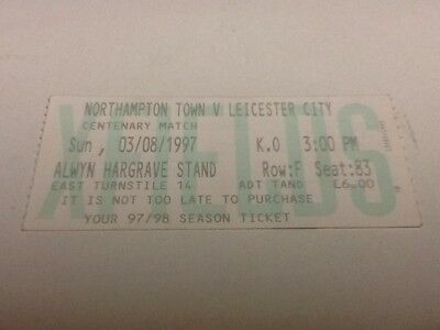 Northampton Town v Leicester City ticket. 3/8/1997