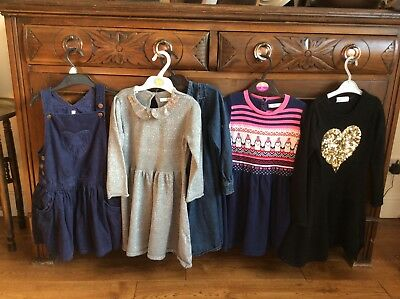 Girls autumn/winter Dress Bundle Cord Knitted Sequin 4-5 M&S 5 Items
