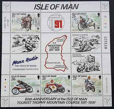Isle Of Man 1991 Set Of Stamps Mnh  Tt Mountain Course 1911-1991