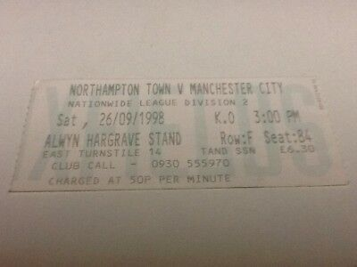 Northampton Town v Manchester City ticket. 26/9/1998