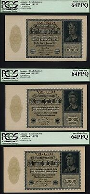Tt Pk 72 1922 Germany 10000 Mark Pcgs 64 Ppq Set Of Three 95 Year Old Notes Wow!