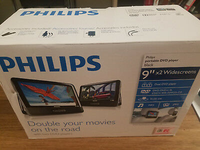 "PHILIPS PD9016 9"" Dual  LCD Screen Portable DVD Player - Used / Open Box Clean"
