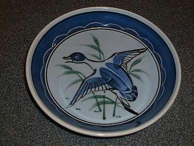 Holkham Pottery, Norfolk. Hand-Painted Plate. Flying Duck.