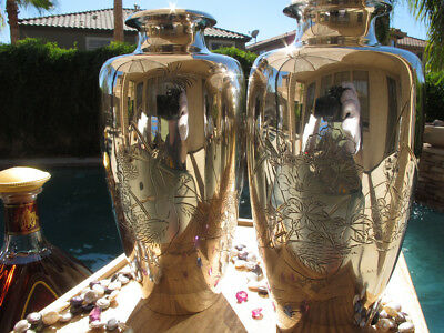 Pair 2 Old Japanese Vases Pure Sterling Silver Meiji Geese Original Box Perfect