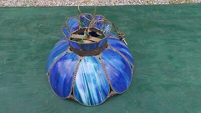 Antique ART DECO ANTIQUE Ceiling Light Fixture CHANDELIER Glass BLUE SLATE